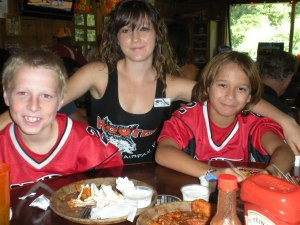 The Hooters picture.  My son is the one on the right.